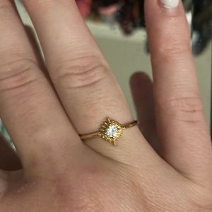 Anthropologie gold gem ring
